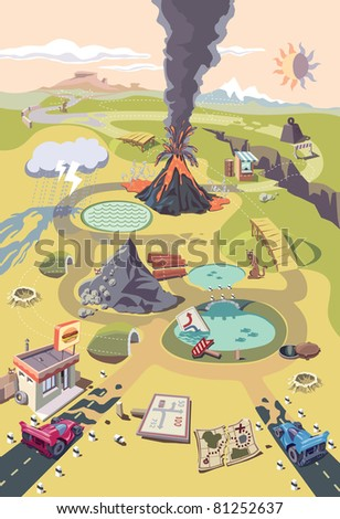 Two racing cars are ready to start the race in a strange and hazardous fantastic world with the volcano in a center of it. Editable vector EPS v9.0 - stock vector