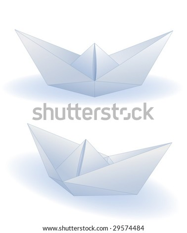 Two realistic paper ships isolated on white (vector)