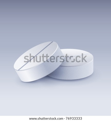 Two realistic vector pills - stock vector