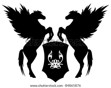 two rearing pegasus with shield vector illustration - stock vector