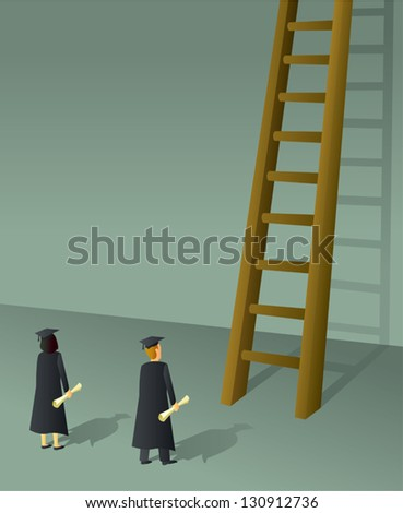 Two recent college grads getting ready to climb the ladder to success. - stock vector