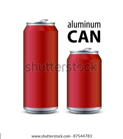 Two Red Aluminum Can - stock vector