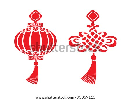 Two red chinese New year symbols - stock vector