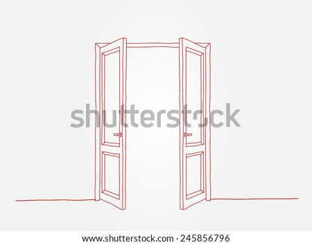 Two red contoured doors opening to the light, doodle style - stock vector