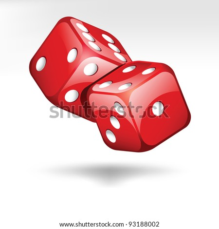 two red dice cubes isolated on white
