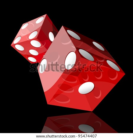 two red dice cubes on black background - stock vector