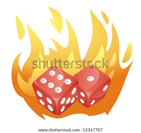 two red dice falls, enveloped in flames