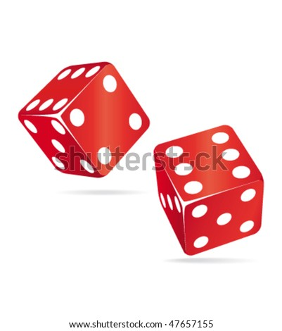 Two red dices. Casino vector icons ll. - stock vector