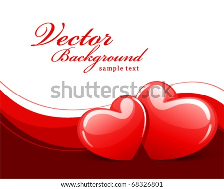 Two red glossy heart Valentine's day vector background