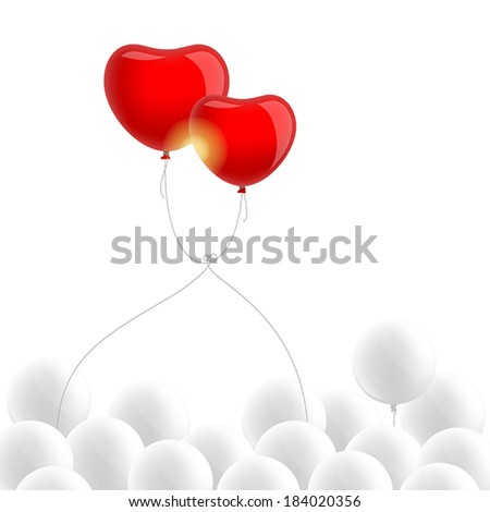 Two red heart-shaped balloons above white balloons