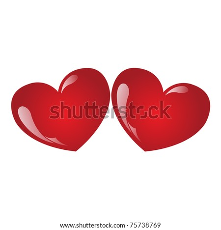 two red hearts - stock vector