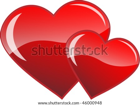 Two red hearts vector - stock vector