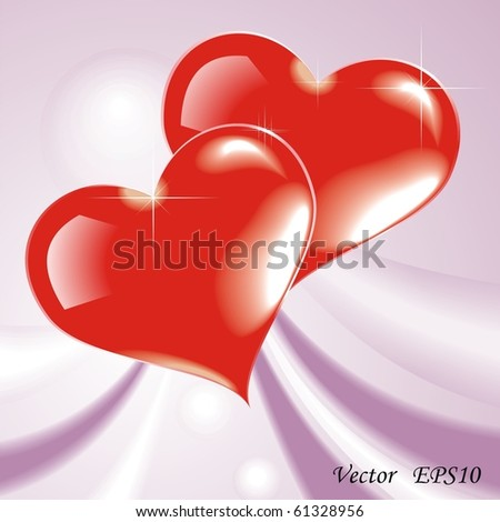 Two red hearts. Vector illustration for your design - stock vector