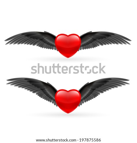 Two red hearts with black crow wings. - stock vector