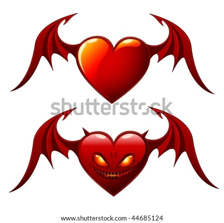 Two red hearts with wings - Good and Evil Valentines - vector