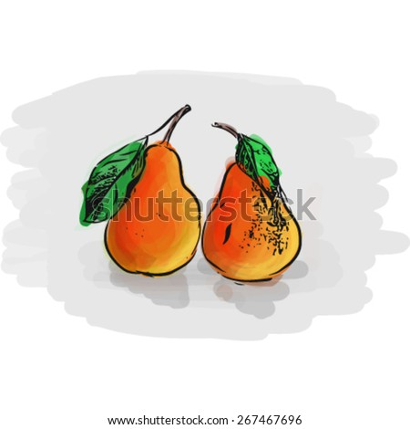 Two red pears drawing on grey background. Layered EPS file with some transparency effects added. - stock vector