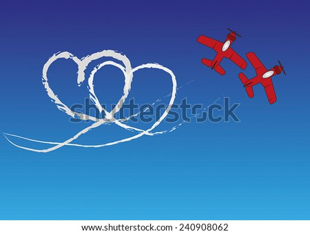 Two red planes are drawing a heartshape with contrails in the blue sky. - stock vector