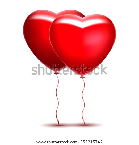 two red realistic inflatable balloon heart vector illustration
