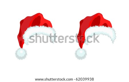 Two red Santa Claus Hat. Vector illustration isolated on white background.