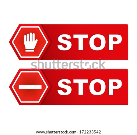 Two red stop signs, vector eps10 illustration - stock vector