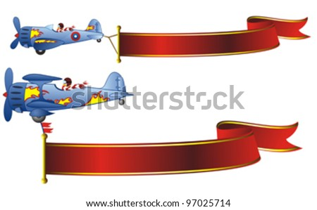 two retro airplanes decorated with flames and red banners - stock vector