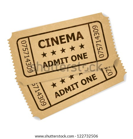 Two retro cinema tickets. Illustration of designer on a white background - stock vector