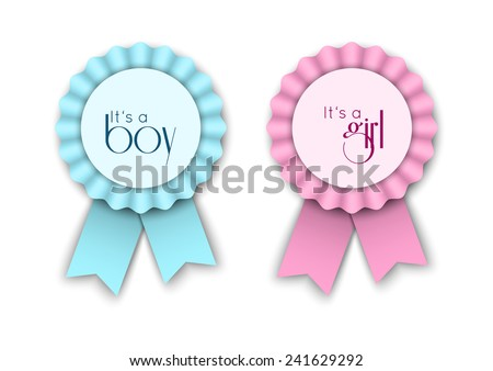 Two ribbon rosettes for newborn baby, pink and blue, with text it's a boy, it's a girl, vector illustration, eps 10 with transparency and gradient meshes - stock vector