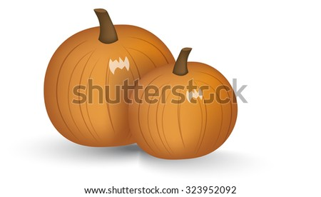 two ripe bright orange pumpkins with a shadow - stock vector