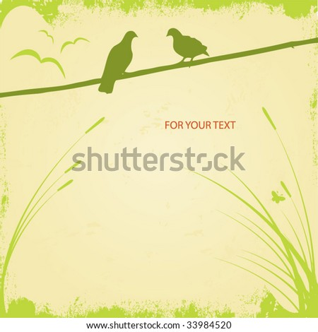 Two romantic doves. Vector image