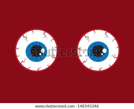 Two round red bloodshot eyeballs  - stock vector