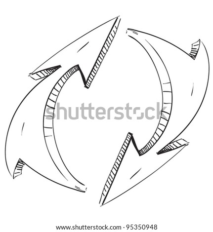 Two rounded arrows.Hand drawing sketch vector icon - stock vector