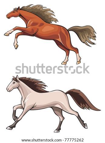 Two running horses, wild mustang, realistic vector illustration - stock vector