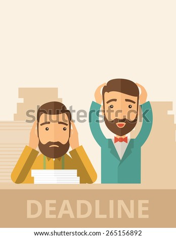 Two sad face hipster Caucasian gentlemen with beard has a big problem because they failed to submit their project  on time with their hands raising. Disappointed, miserable concept. - stock vector