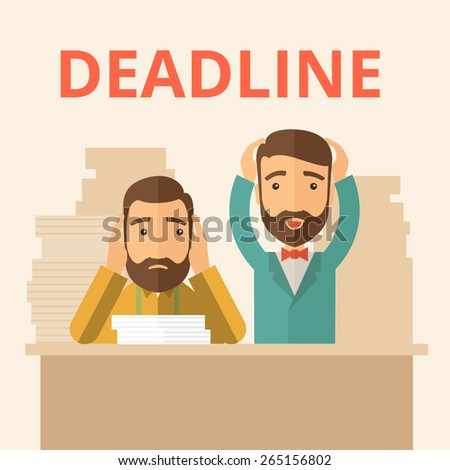 Two sad face hipster Caucasian gentlemen with beard have a big problem because they failed to submit their project  on the deadline with their  two hands raising up. Disappointed, miserable concept.  - stock vector