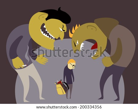 Two scary bullies abuse a little kid with a school backpack, vector illustration - stock vector