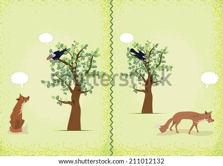 Two scenes from the fable of the fox and raven - stock vector