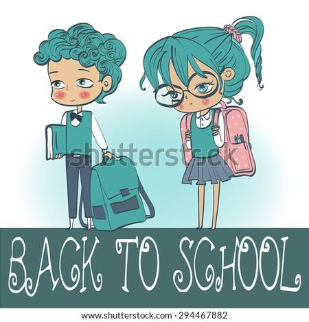 two school kids - stock vector