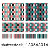 Two seamless geometric patterns with companions. Vector illustration - stock vector