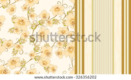 two seamless pattern with flowers and strips in pastel shades of  beige, vector illustration - stock vector