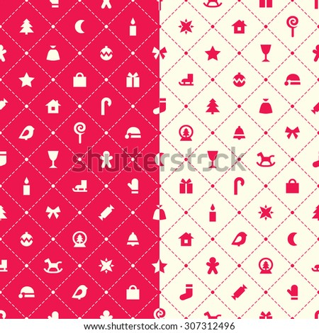 Two seamless vector patterns. Simple red and white christmas symbols and argyle elements.  - stock vector