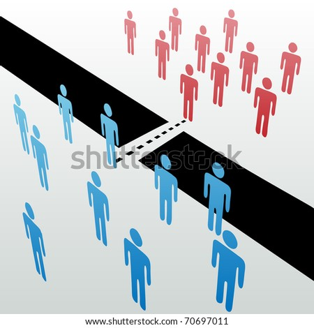 Two separate groups find common ground to unite merge together across gap - stock vector