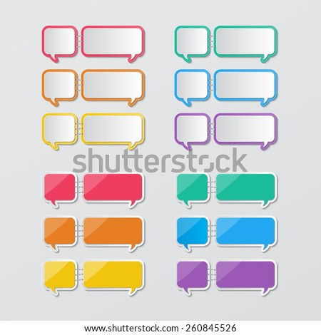 two set of blank colorful paper speech bubbles stapled in flat style. vector.