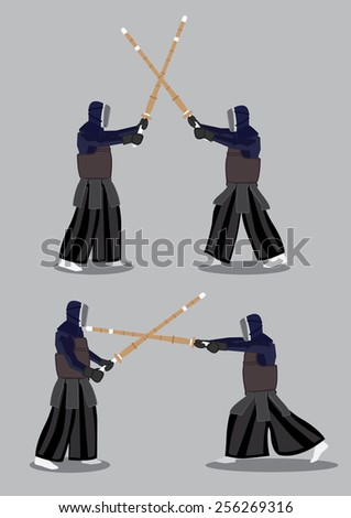 Two set of vector illustration of two characters wearing black protective outfit and masks and fighting  with Kendo bamboo swords isolated on grey background. - stock vector