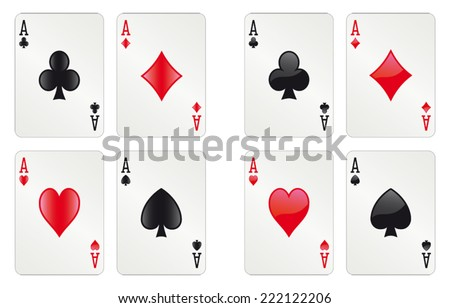 Two sets of glossy aces - alpha version - stock vector