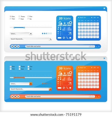 Two sets of interface which a calendar icon and the player. - stock vector