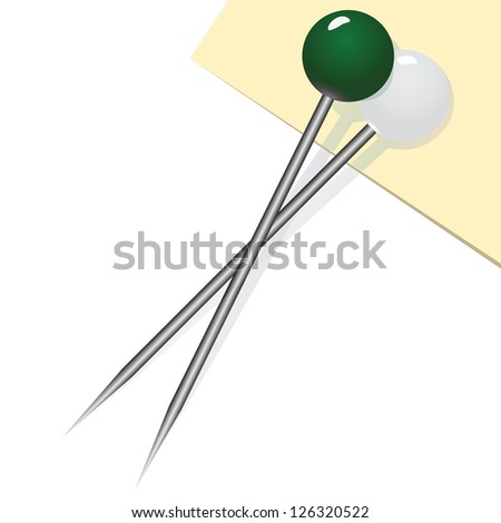 Two sewing pins to secure the fabric. Vector illustration.