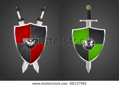 two shields and swords, vector - stock vector