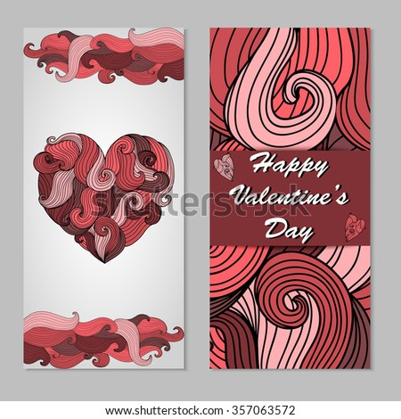 Two side vertical flyer. Happy Valentine's Day design. Romantic hand drawn pattern. Wavy texture for party brochure, wedding invitation, greeting card, banner, poster, pattern fills. Vector - stock vector