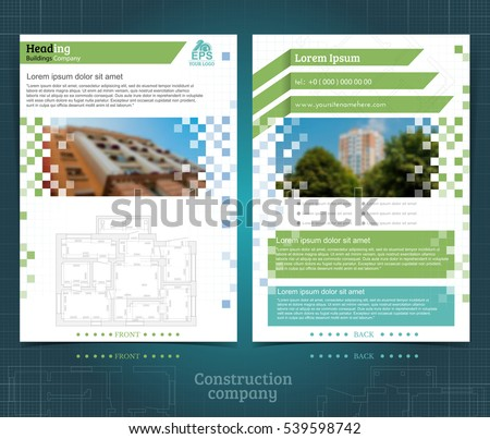 Two Sided Brochure Flayer Template Design Stock Vector 539598742