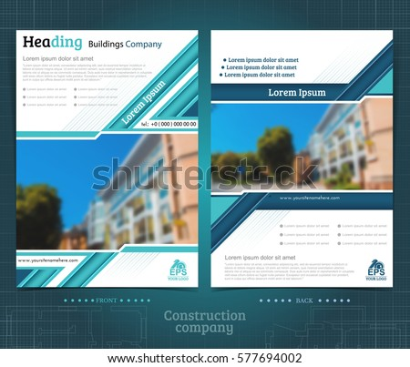 two sided brochure flayer template design stock vector 577694002
